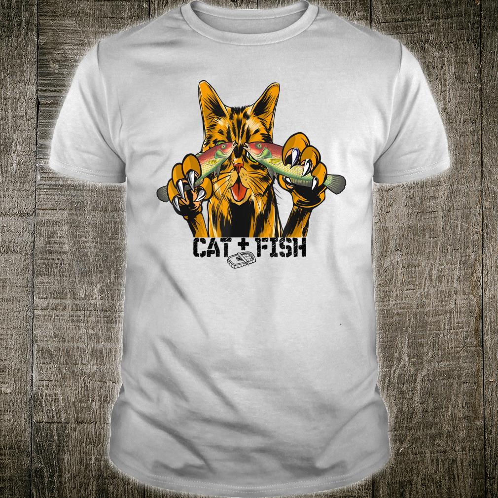 Katze und Fisch, cat and fish, Angler Outfit Geschenk Shirt