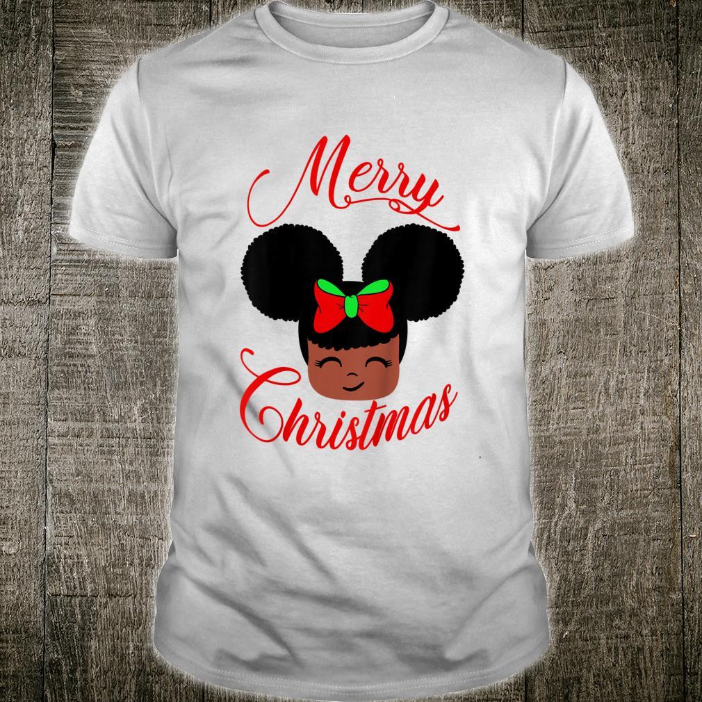 Kids Cute African American Girl Afro Puffs & Bow Merry Christmas Shirt