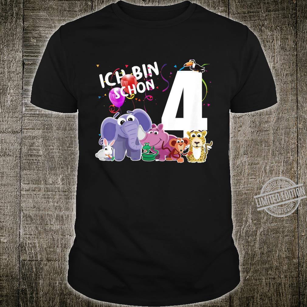Kinder Ich bin 4 Jahre Geburtstags Tiere vierter Geburtstag Shirt