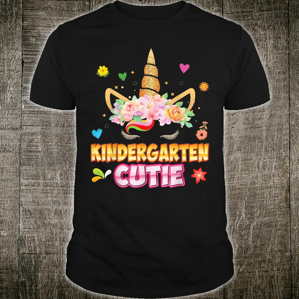 Kindergarten Grade Cutie Cute Floral Unicorn Face Back To Shirt