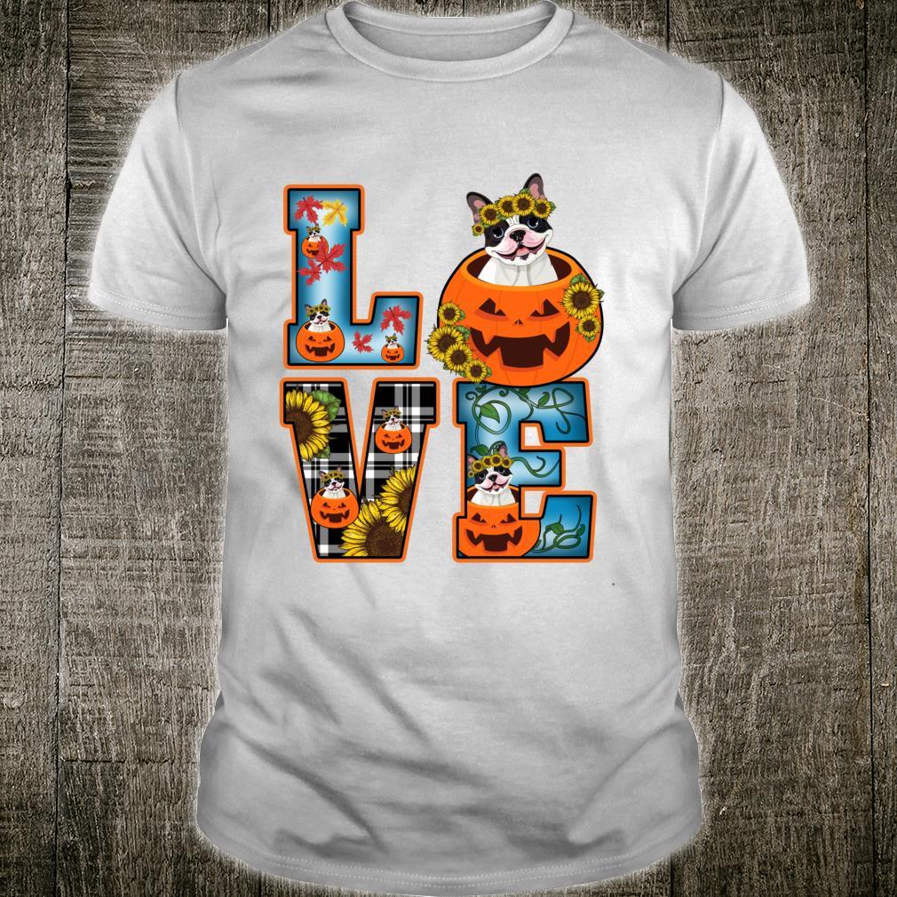 LOVE Plaid Pumpkin French Bulldog Happy Thanksgiving Dog Shirt