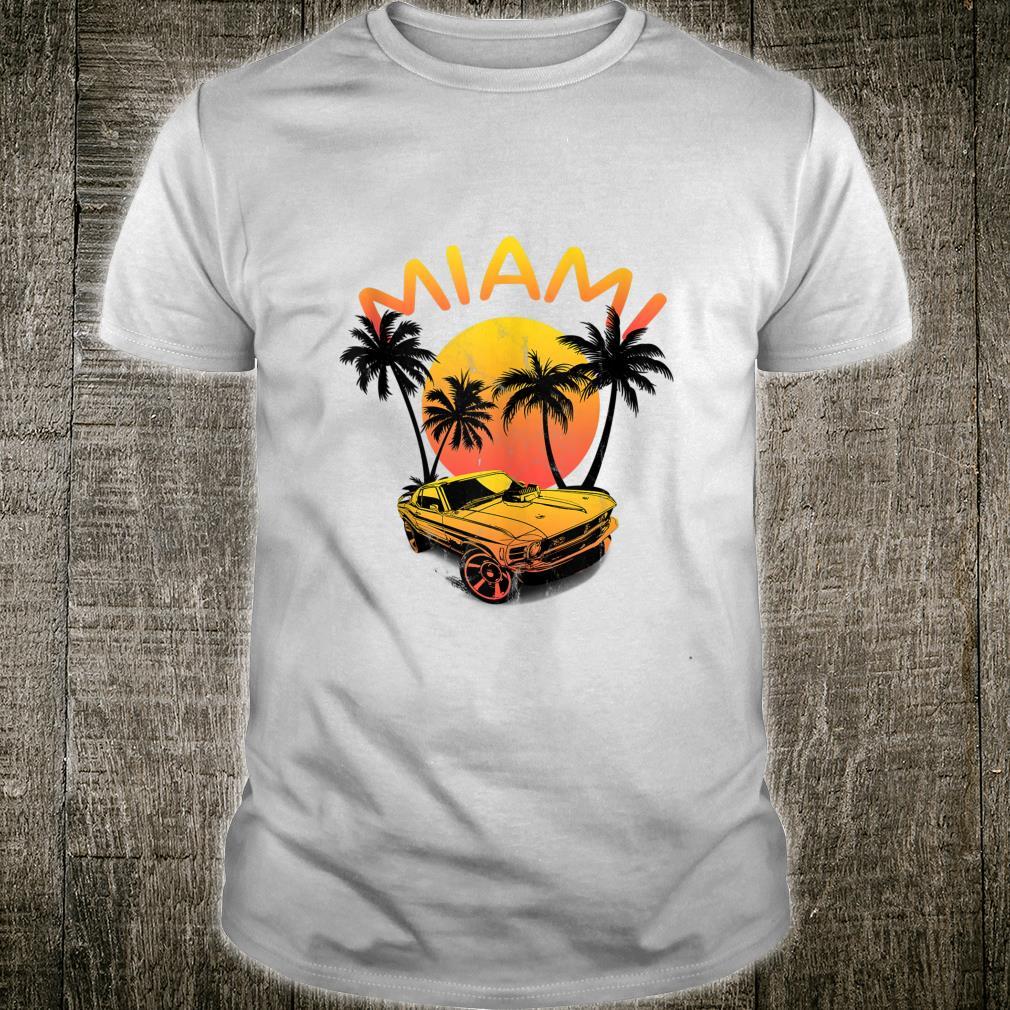 MIAMI Sea Sun & Beach Retro Sunset Palm Trees Car Vacation Shirt