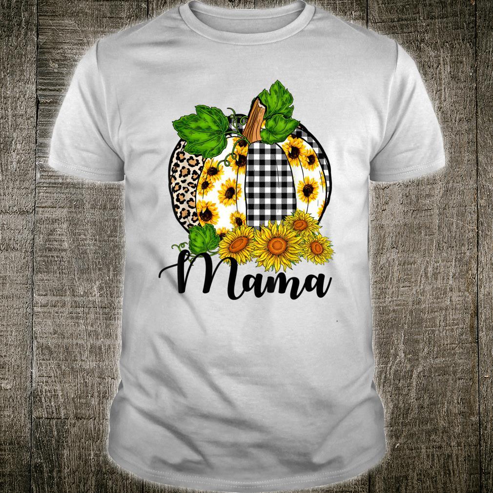 Mama Leopard Pumpkin With Sunflower Thanksgiving Shirt
