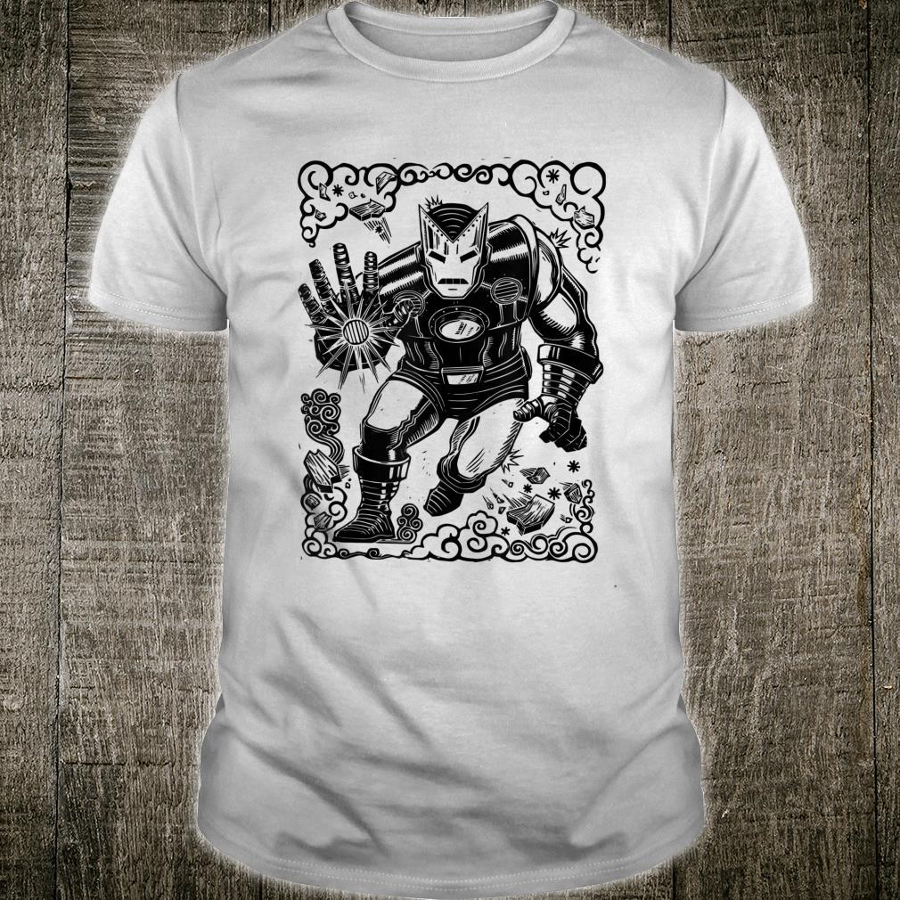 Marvel Iron Man Blast Linocut White Shirt