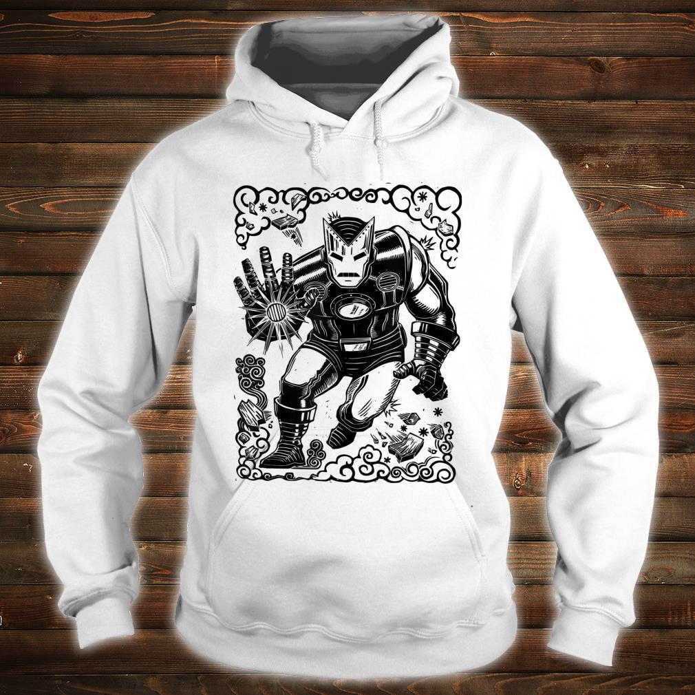 Marvel Iron Man Blast Linocut White Shirt hoodie