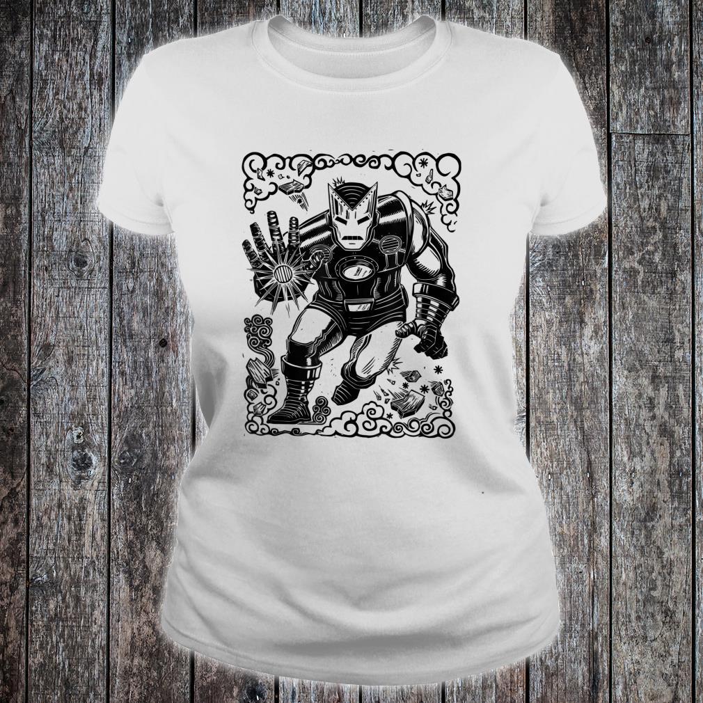 Marvel Iron Man Blast Linocut White Shirt ladies tee
