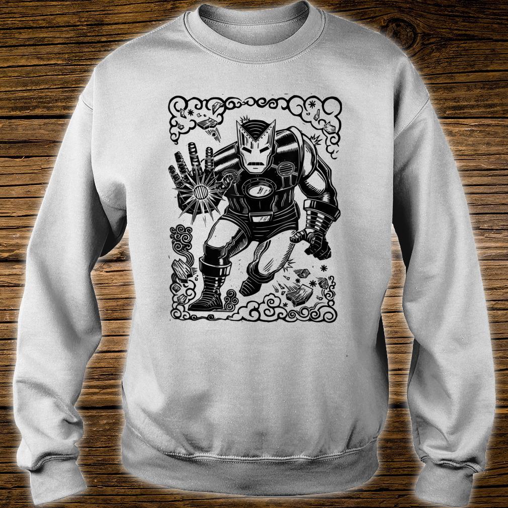 Marvel Iron Man Blast Linocut White Shirt sweater