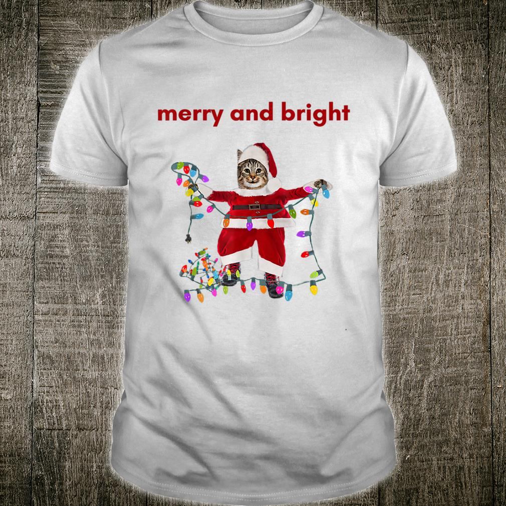 Merry Christmas Cat With Colorful Lights Shirt