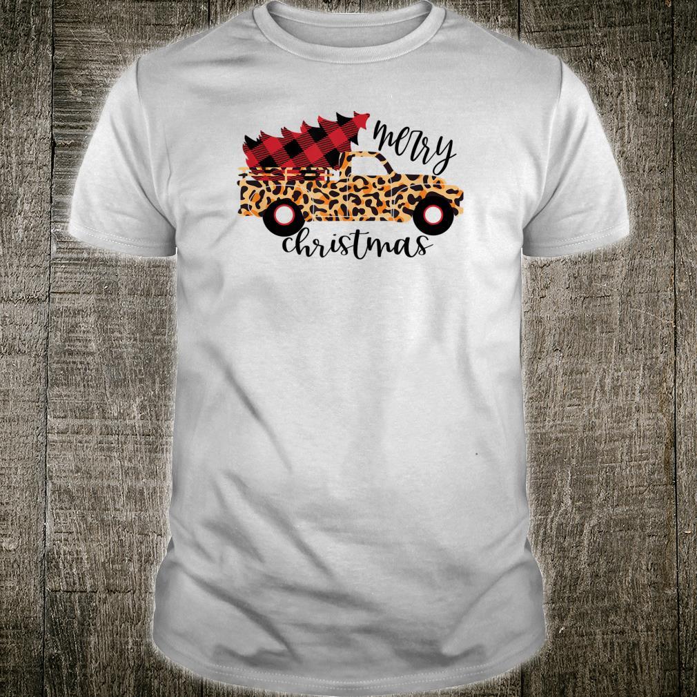 Merry Christmas Farmhouse Leopard Truck Plaid Tree Cute Shirt