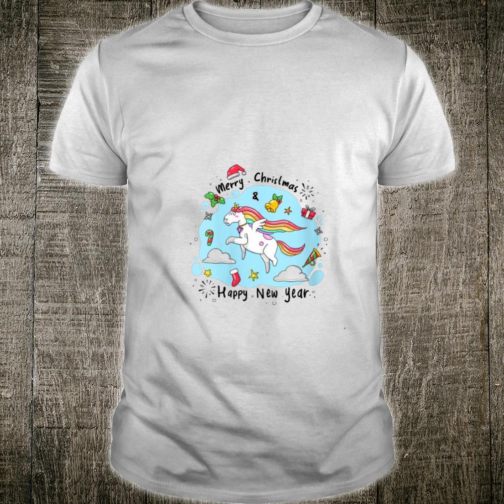 Merry Christmas Happy New Year Unicorn Art Sketch Shirt