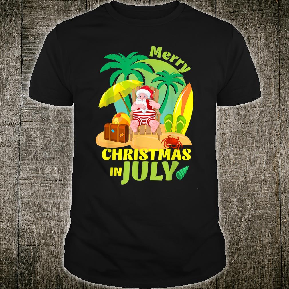 Merry Christmas In July Summer Santa Hawaiian Xmas In July Shirt