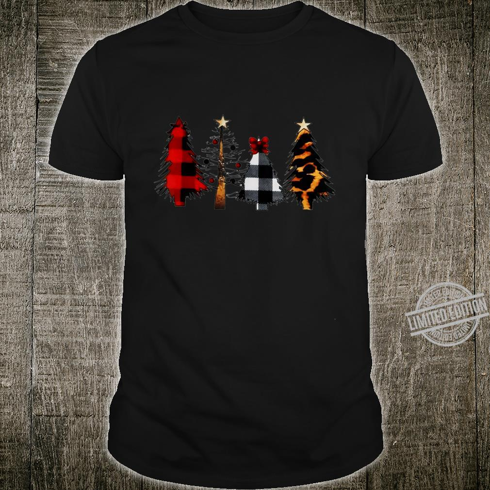 Merry Christmas Trees Leopard AND Buffalo Plaid Girl Shirt