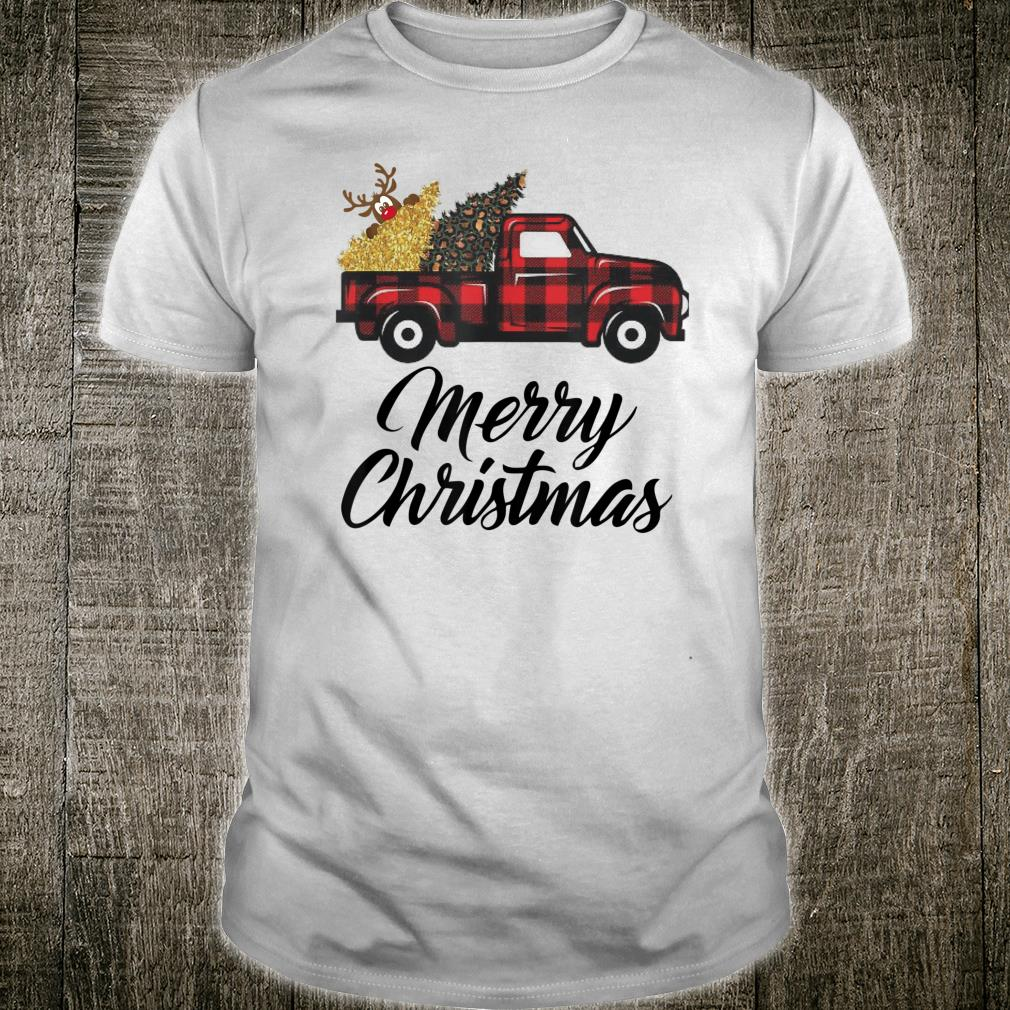 Merry Christmas cute holiday Plaid tree vintage truck Shirt