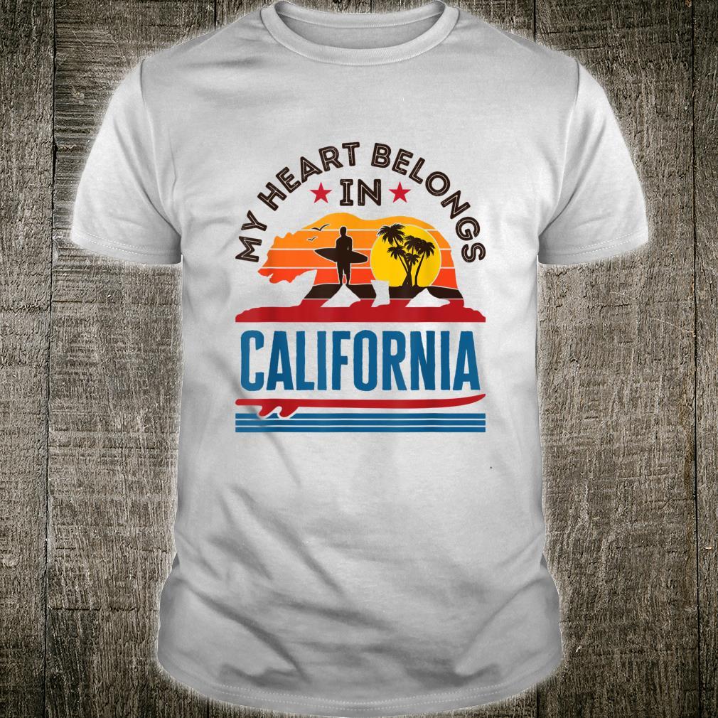 My Heart Belongs In California Bear Surfer Love Retro Shirt