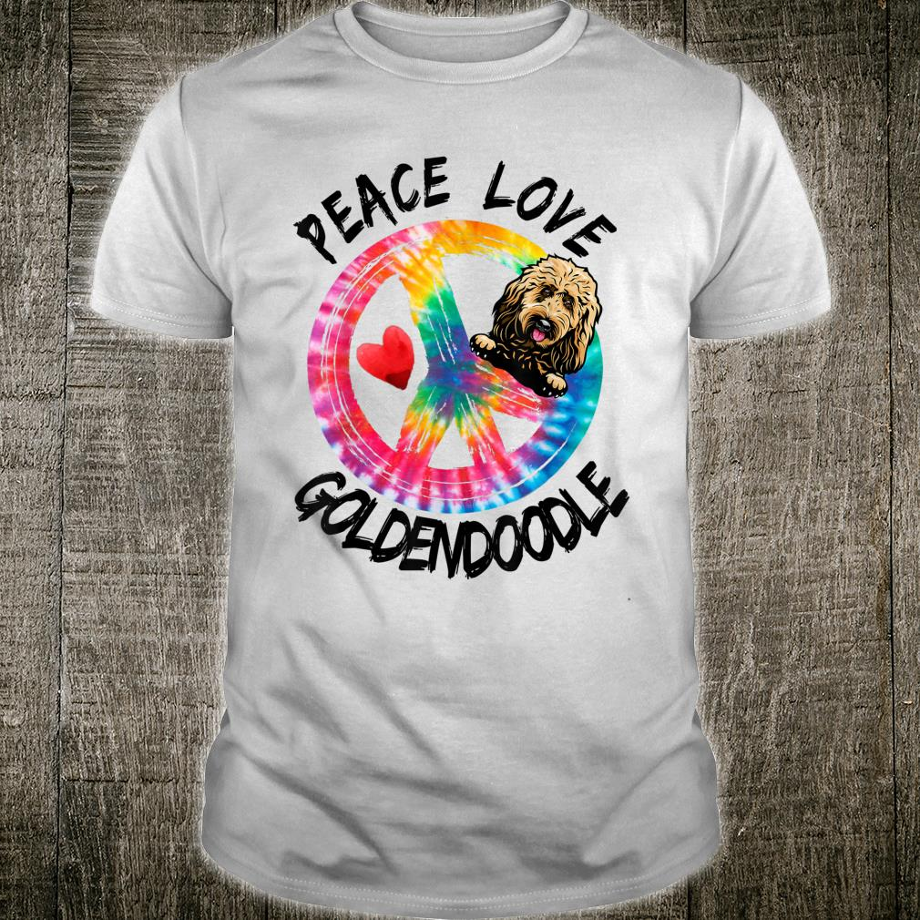 Peace Love Goldendoodle Tie Dye Rainbow Dog Shirt