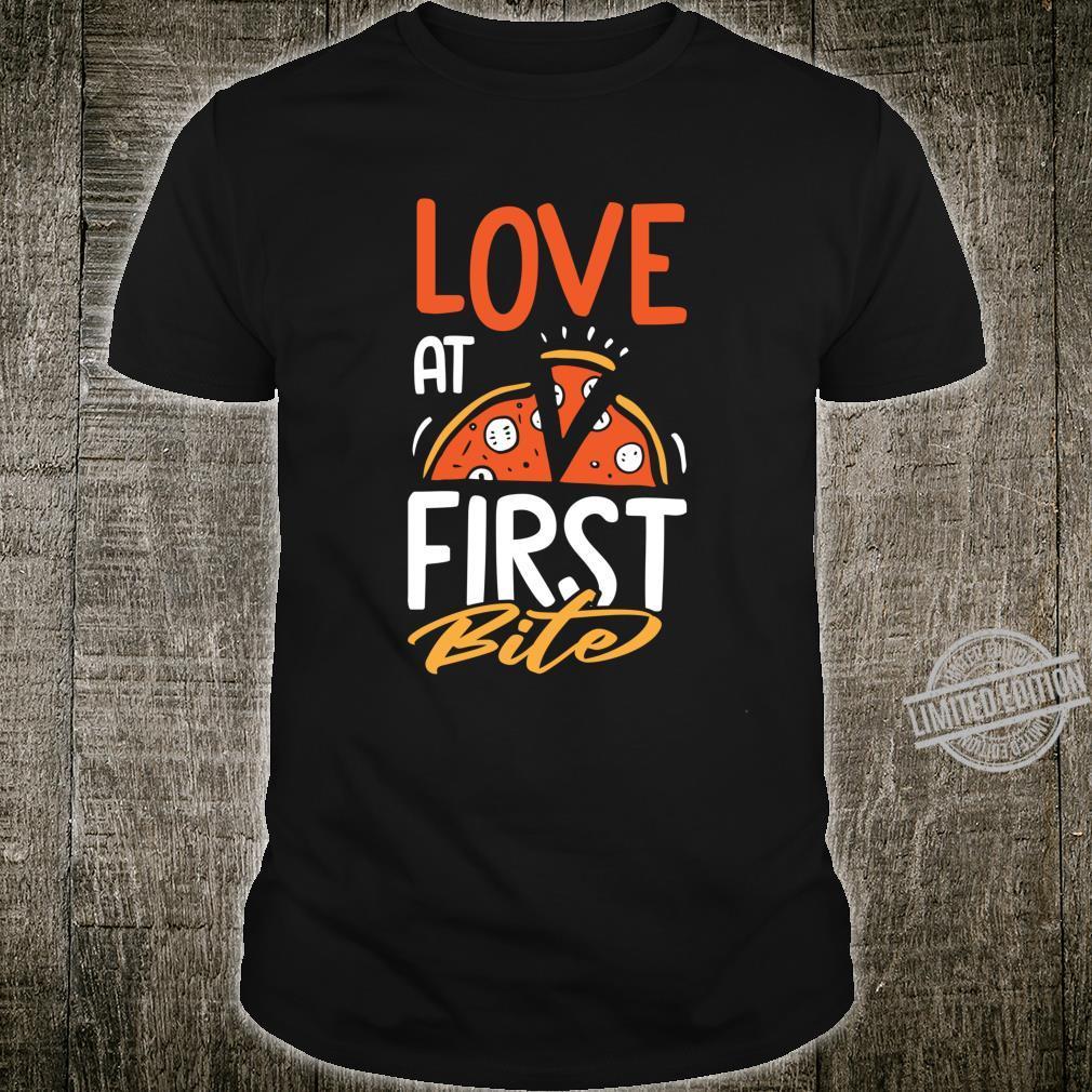 Pizza Love At First Bite Pepperonis Joke Shirt