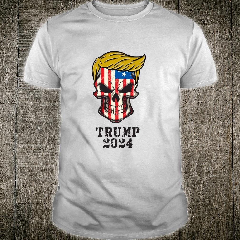 President Donald Trump 2024 MAGA Skull USA Flag Skeleton Shirt