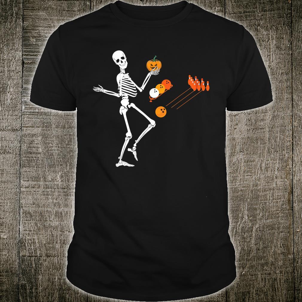 Pumpkin Skeleton Bowling Halloween Costume Eyeball Shirt