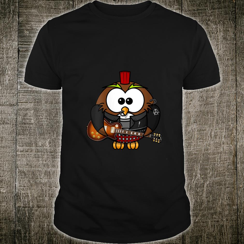 Punk Rock Guitar Penguin Cartoon Shirt