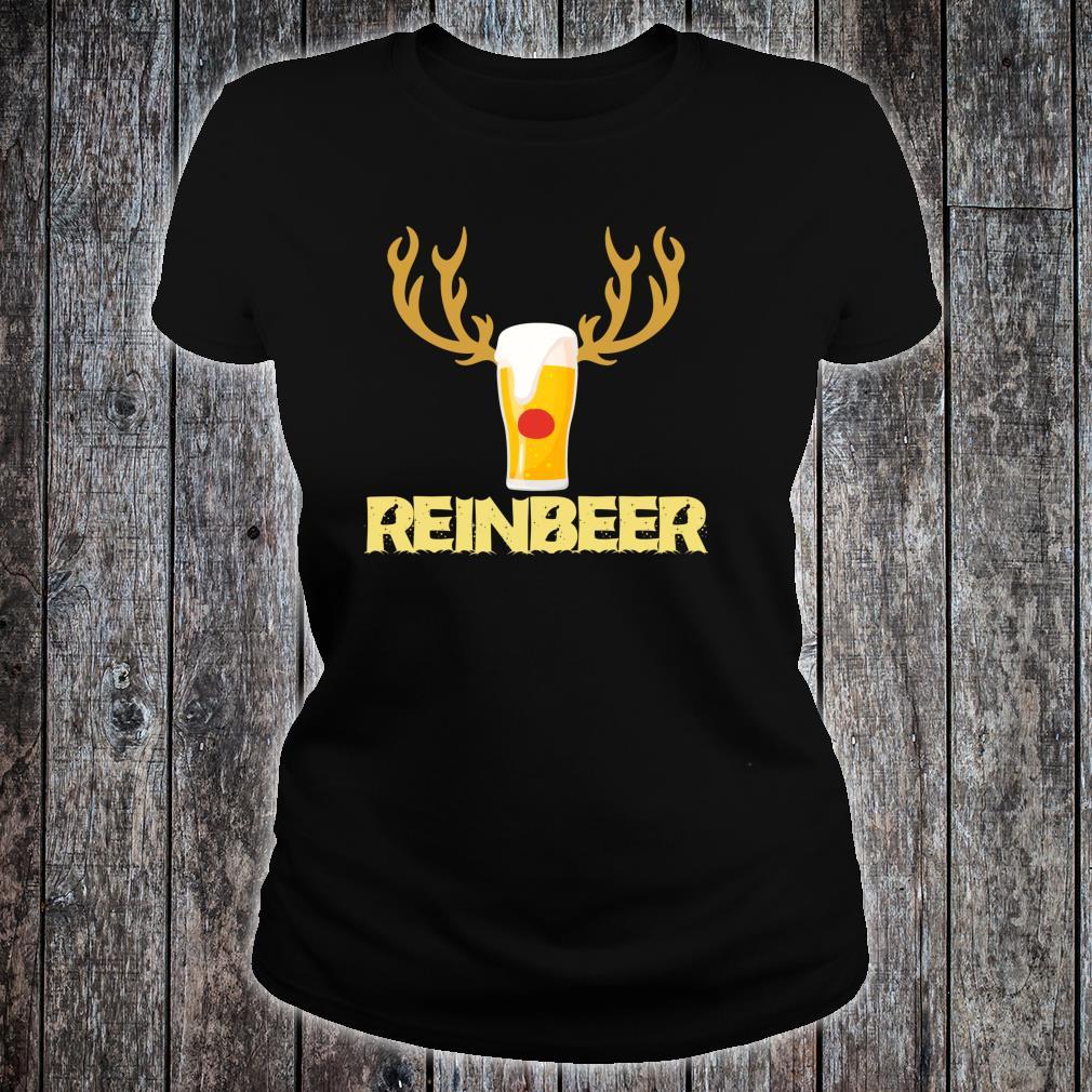 Reinbeer Reindeer Drinking Christmas Shirt ladies tee