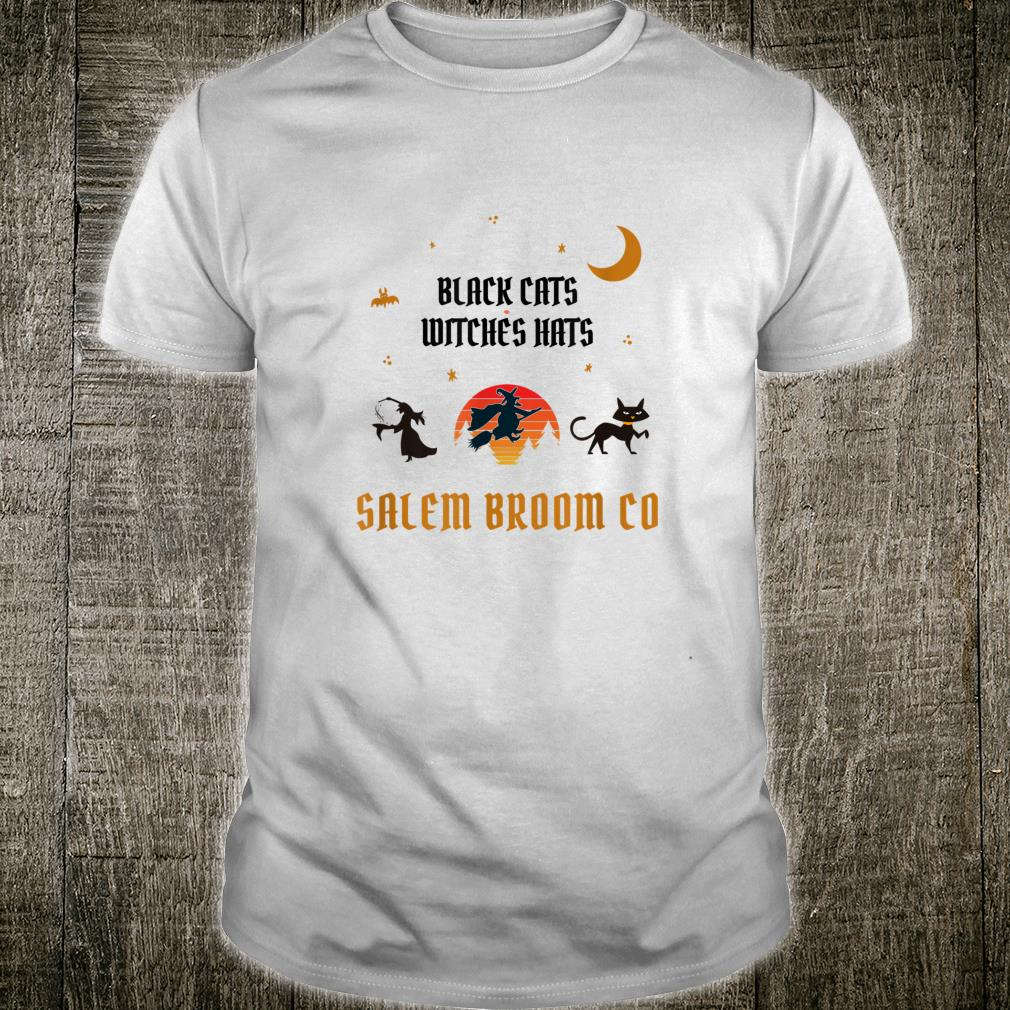 Salem Broom Co Black Cats Witches Hats Shirt