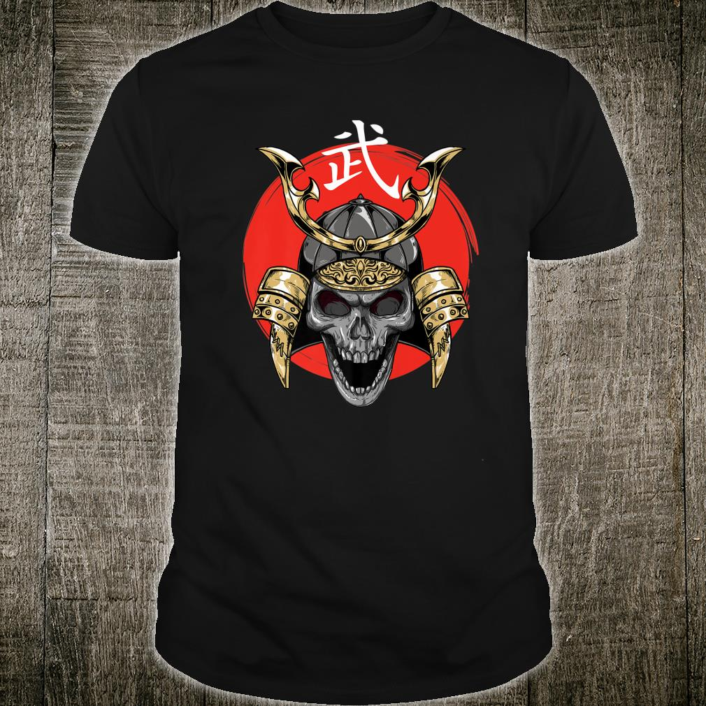 Samurai Warrior Skull on Rising Sun Japanese Calligraphy Shirt