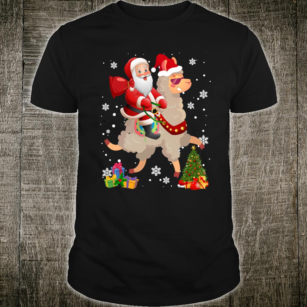Santa Riding Llama Christmas Llama Shirt