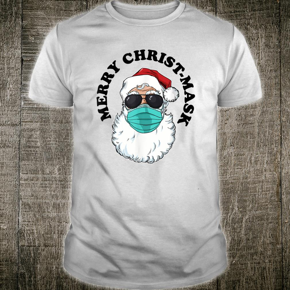 Santa with facemask and sunglasses Merry ChristMask Shirt