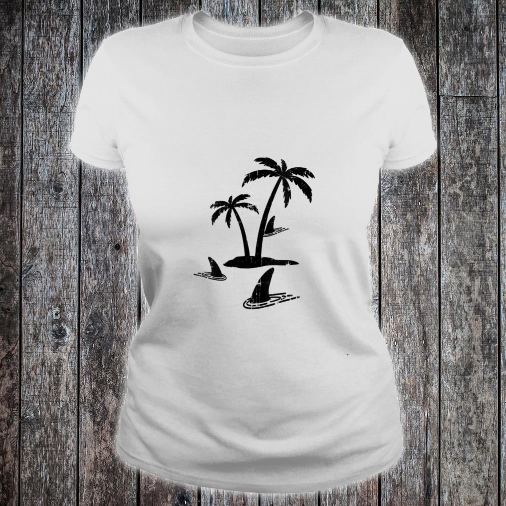 Sharks Palm Tree Island Sharks In Water Shark Sunset Shirt ladies tee