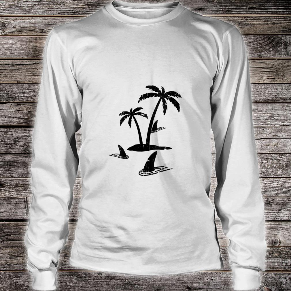 Sharks Palm Tree Island Sharks In Water Shark Sunset Shirt long sleeved