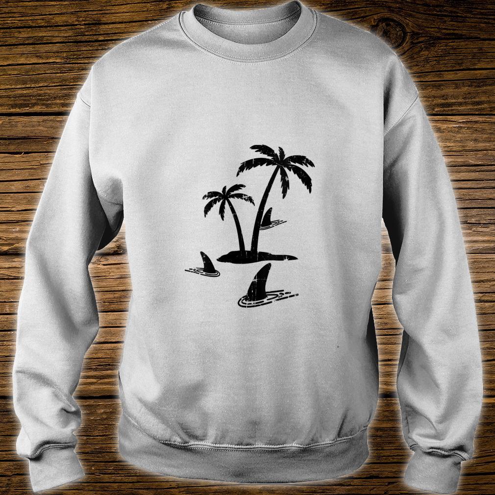Sharks Palm Tree Island Sharks In Water Shark Sunset Shirt sweater