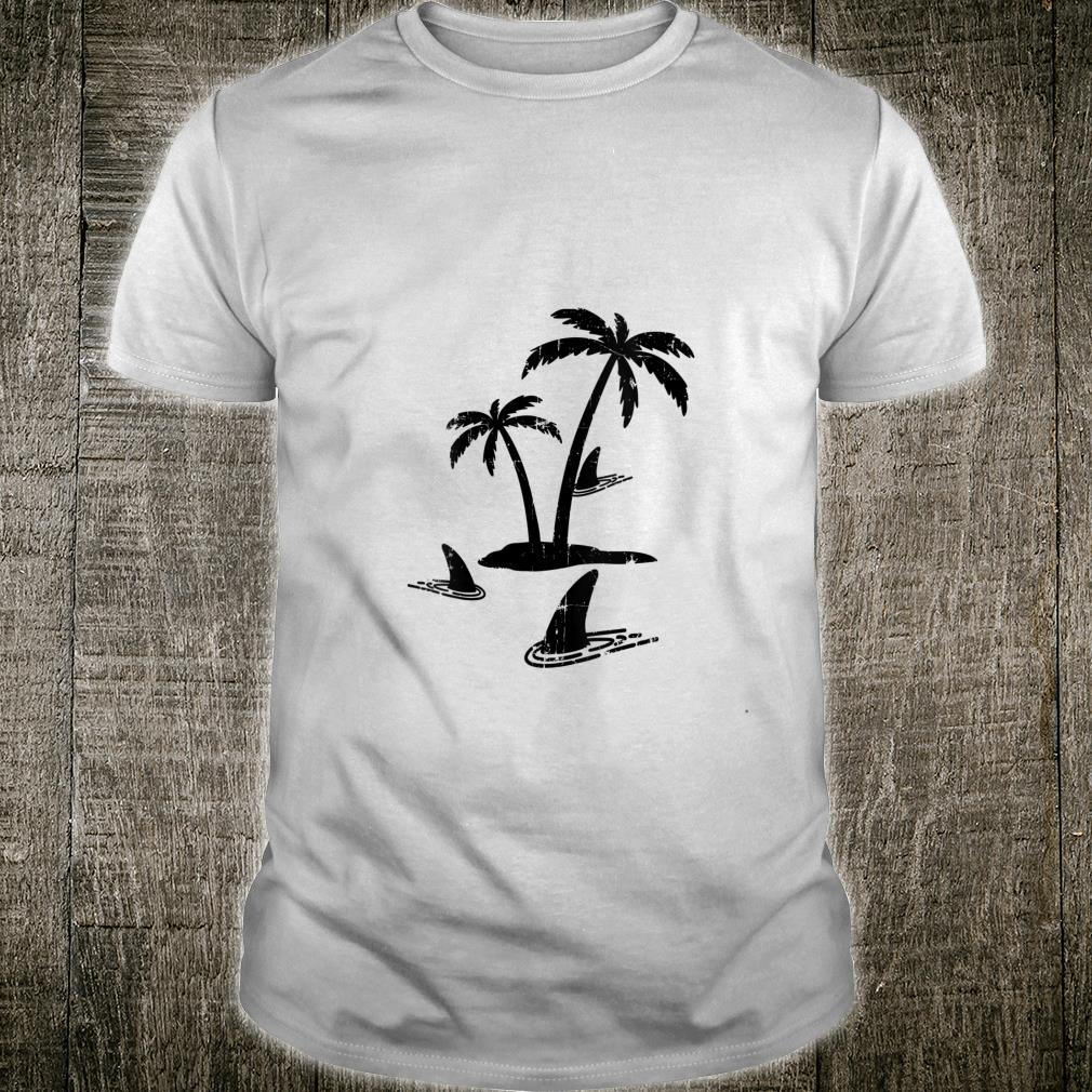 Sharks Palm Tree Island Sharks In Water Shark Sunset Shirt