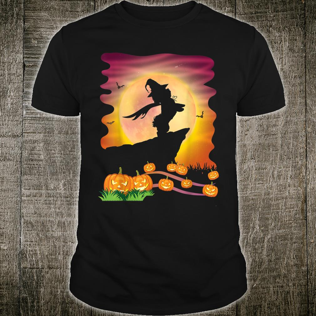 Shih Tzu Dog Witch & Moon Pumpkins Bats Happy Halloween Day Shirt