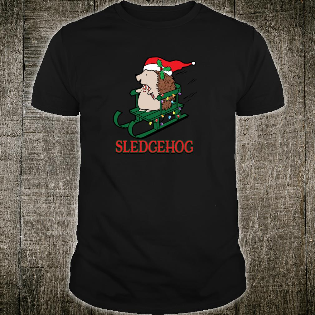 Sledgehog Christmas Cute Hedgehog Sled Holiday Shirt