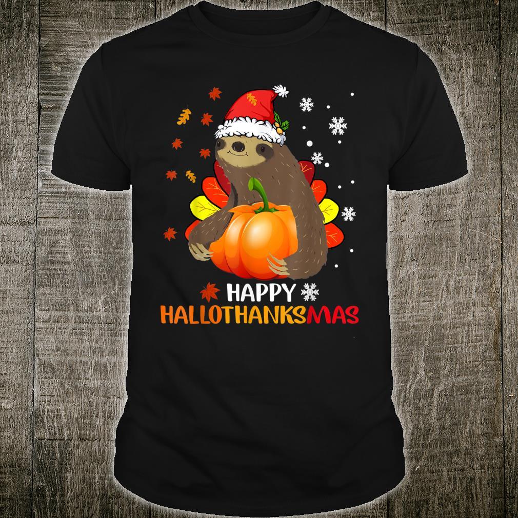 Sloth Halloween And Merry Christmas Happy Hallothanksmas Shirt