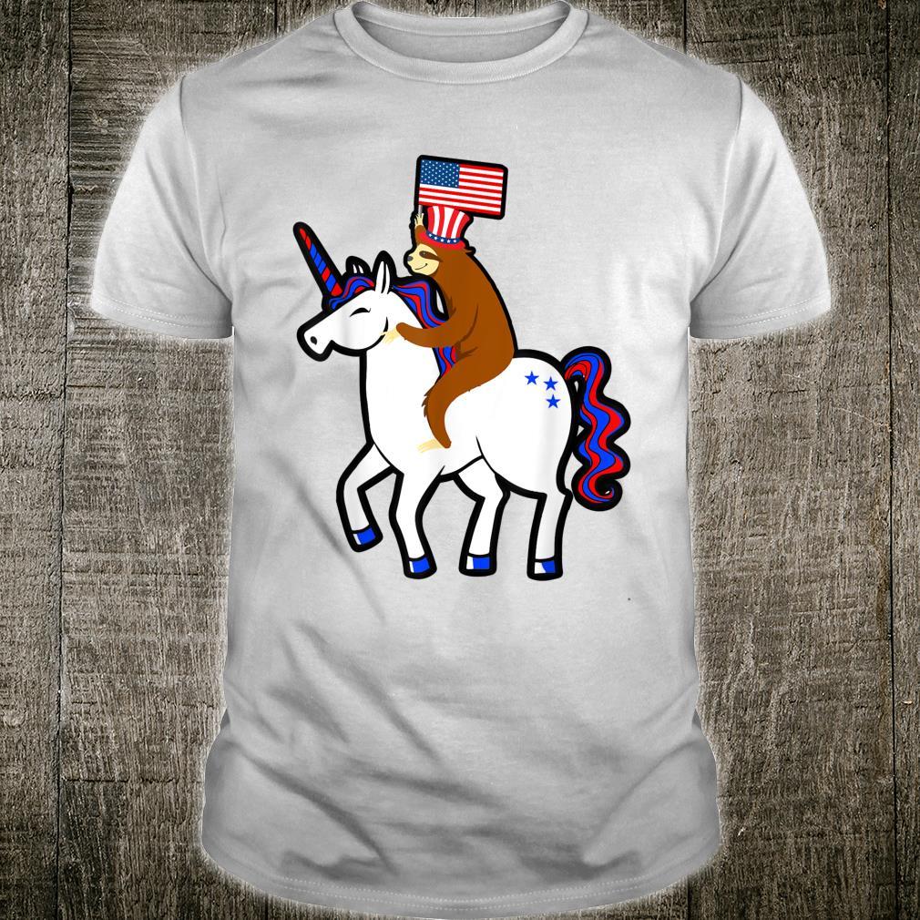 Sloth Ride Unicorn US Flag July 4th Freedom Independence Shirt