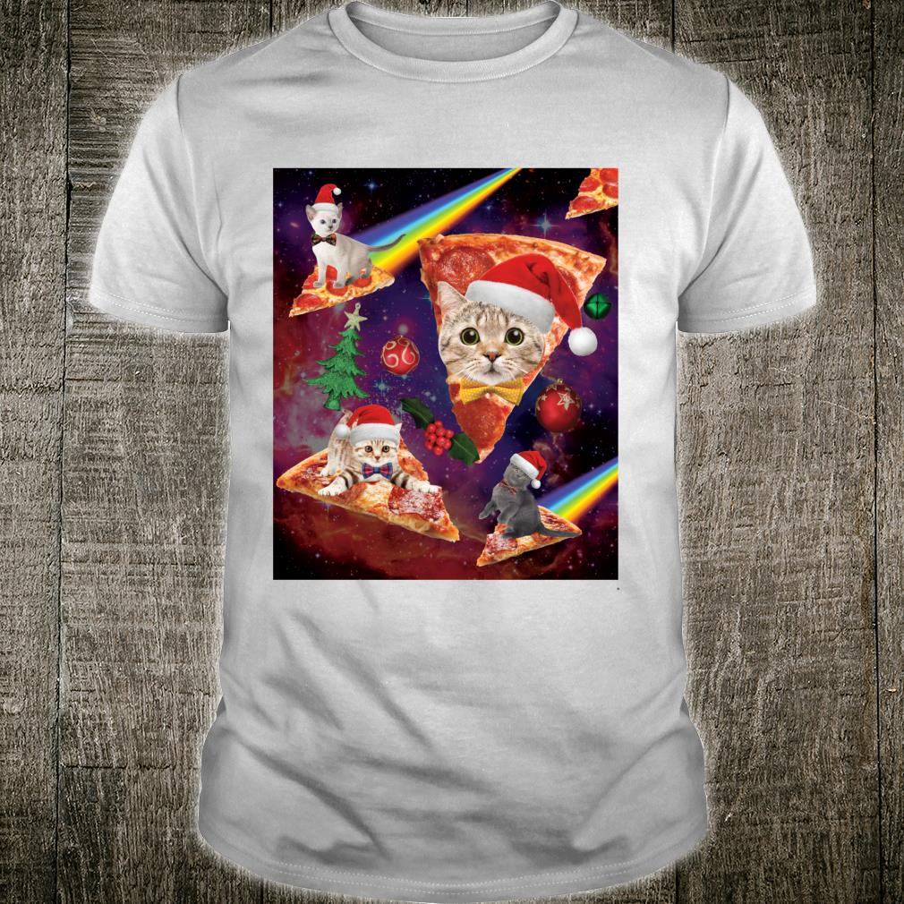 Space Christmas Cats Riding on Pizza Shirt