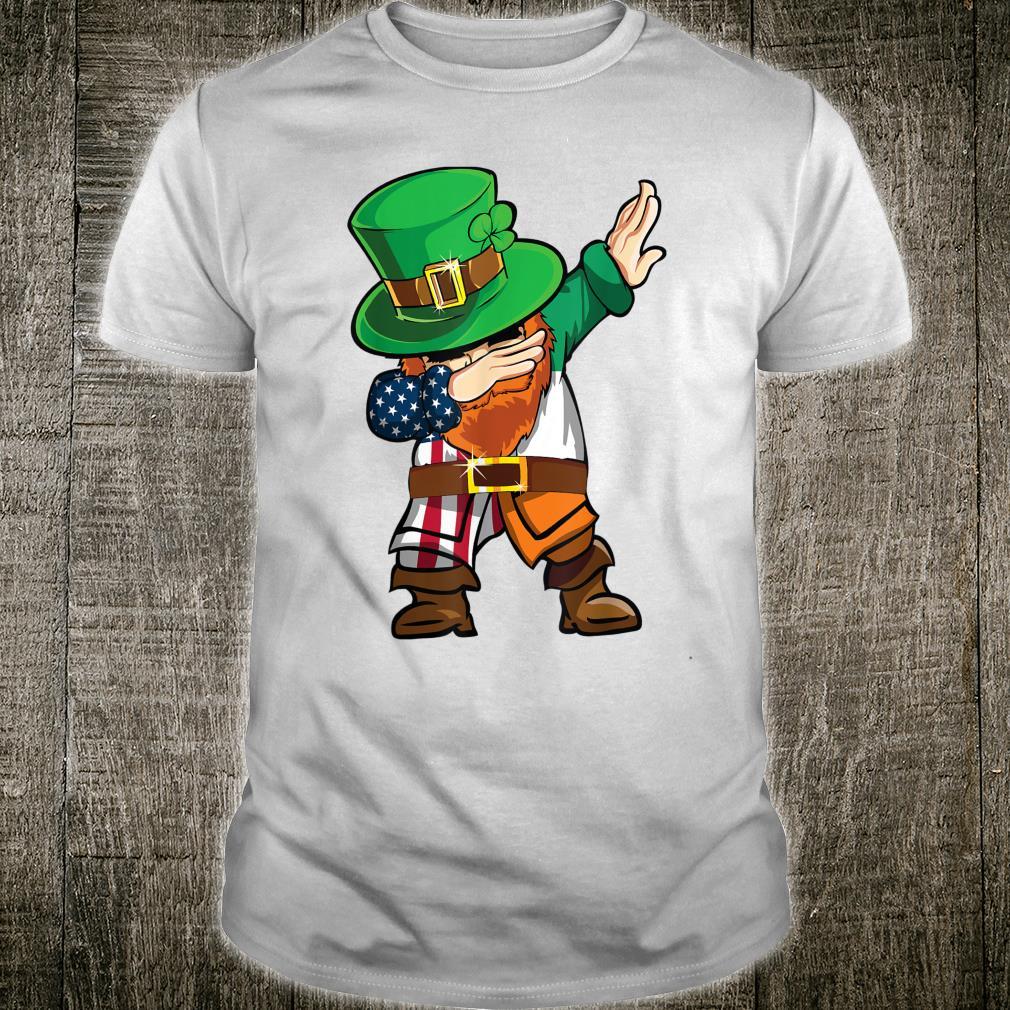 St Patricks Day Dabbing Leprechaun American Flag And Irish Shirt
