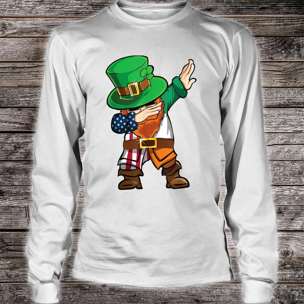 St Patricks Day Dabbing Leprechaun American Flag And Irish Shirt long sleeved