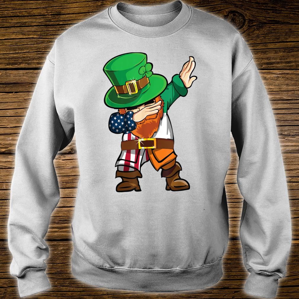 St Patricks Day Dabbing Leprechaun American Flag And Irish Shirt sweater