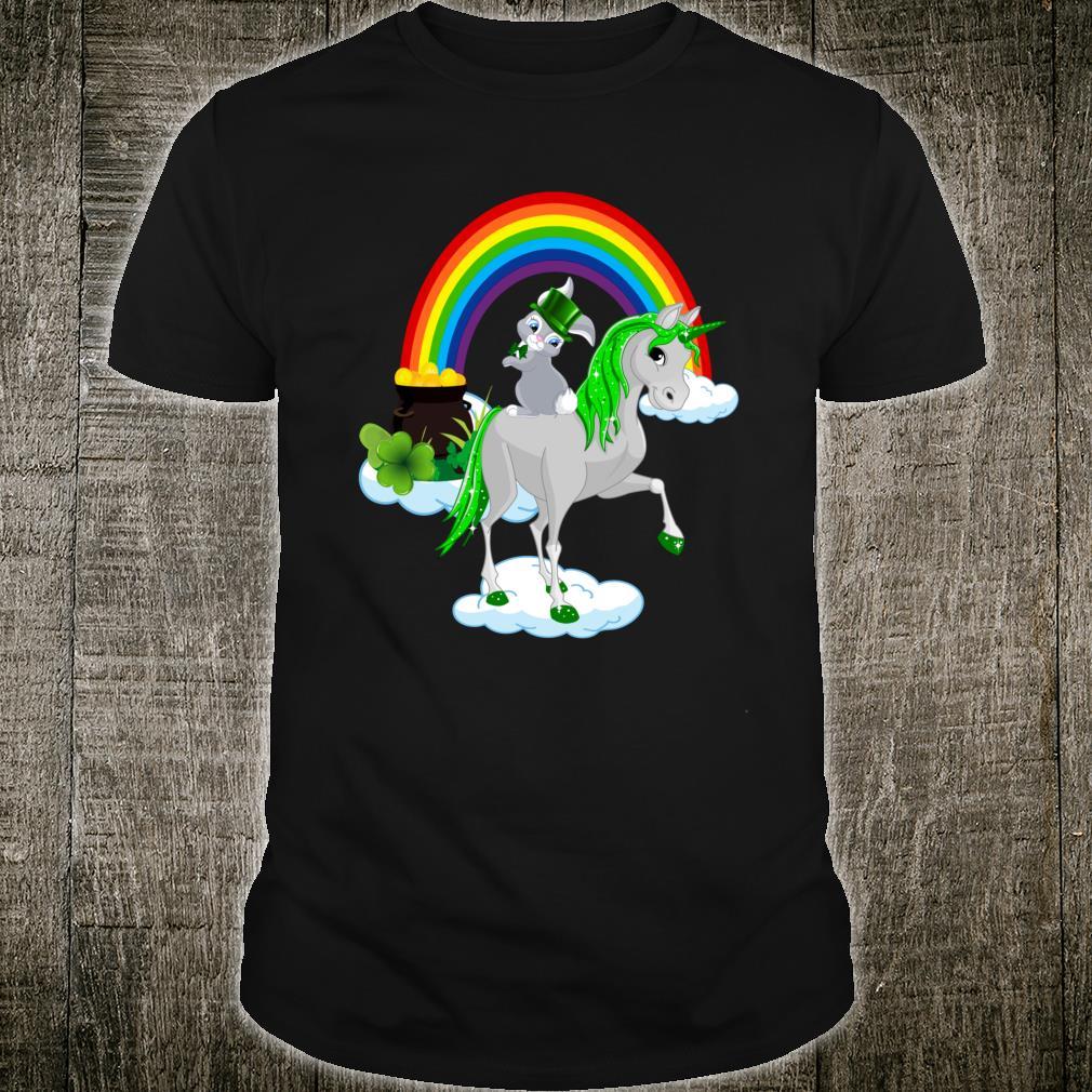 St Patricks Day Rabbit On A Unicorn Irish Shirt