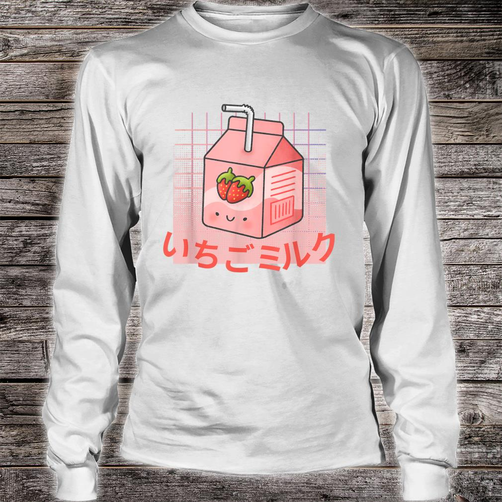 Strawberry Milk Kawaii Cute Vaporwave Aesthetic Retro 90s Shirt long sleeved