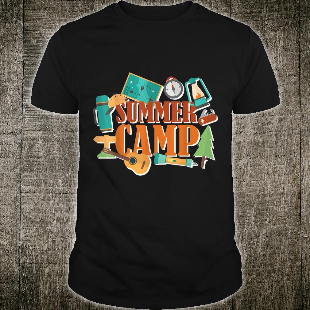 Summer camp with camping elements around, Nature outdoor Shirt