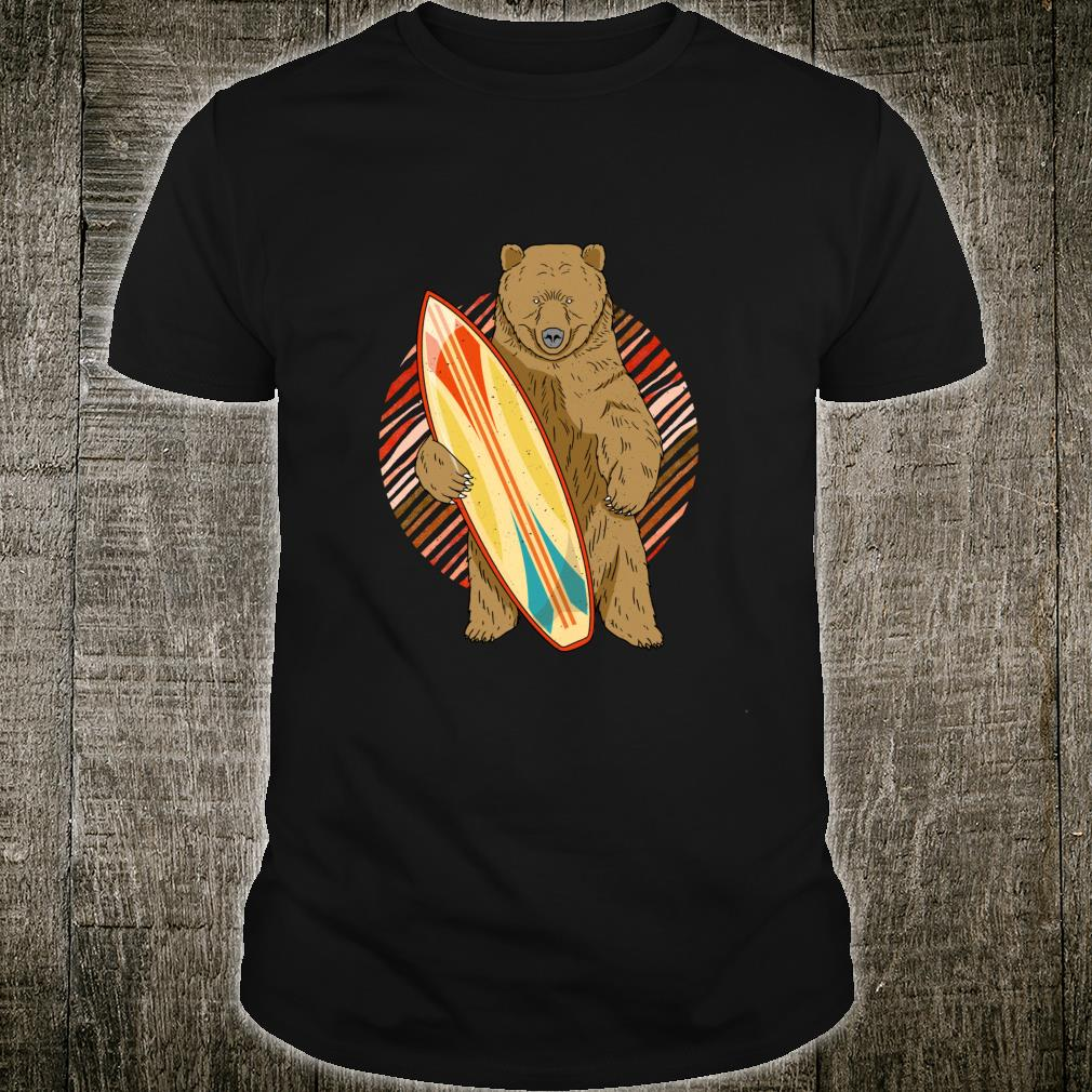 Surfing Bear Surfboard Vintage Surfer Distressed Shirt