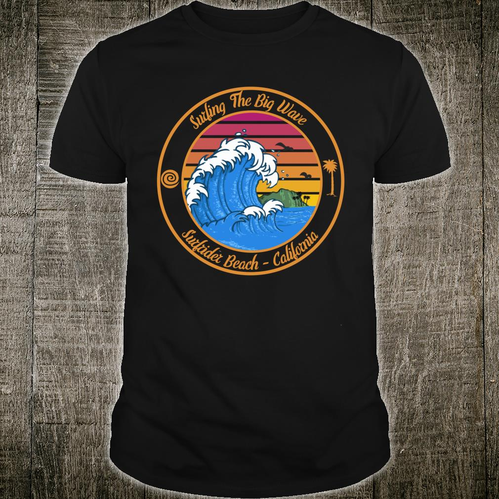 Surfrider Beach California Retro Surfer Big Wave Retro Shirt