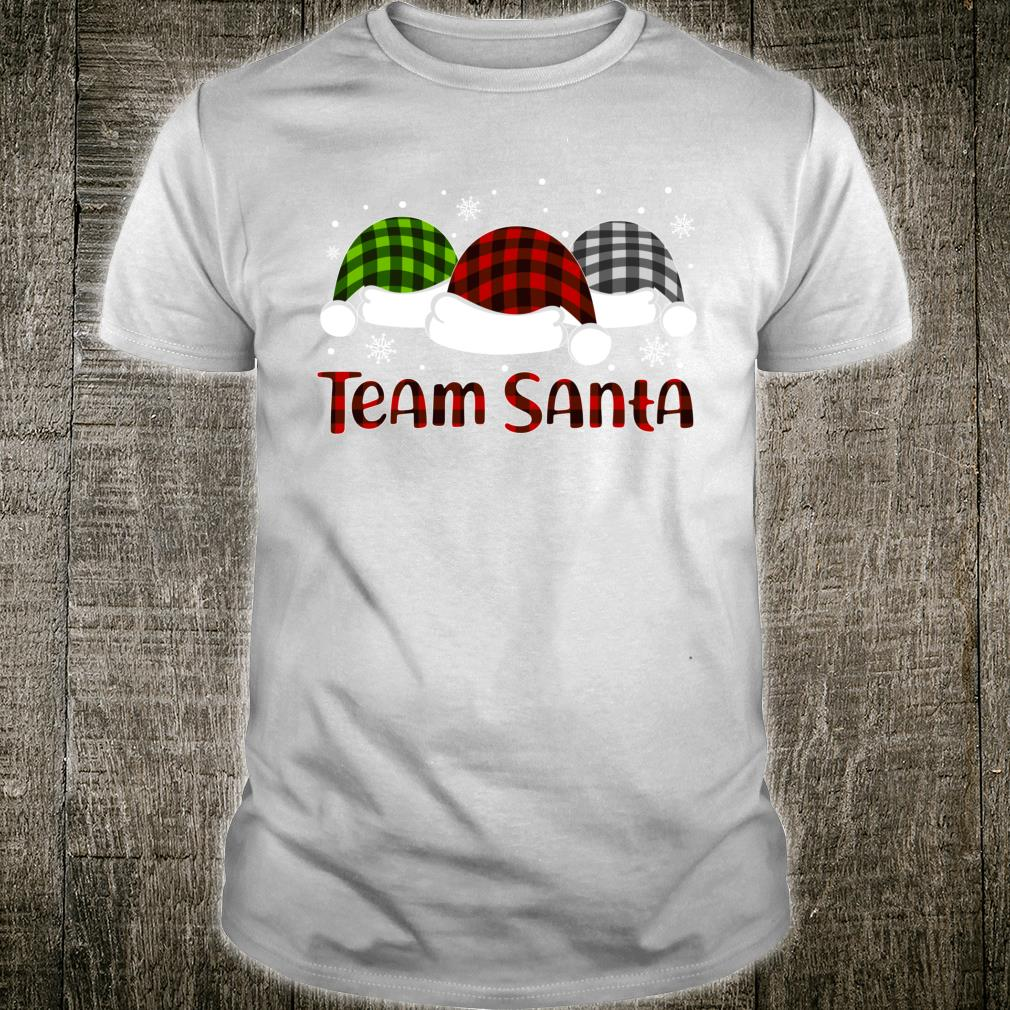 Team Santa Buffalo Plaid Hat Pajama Family Group Matching Shirt
