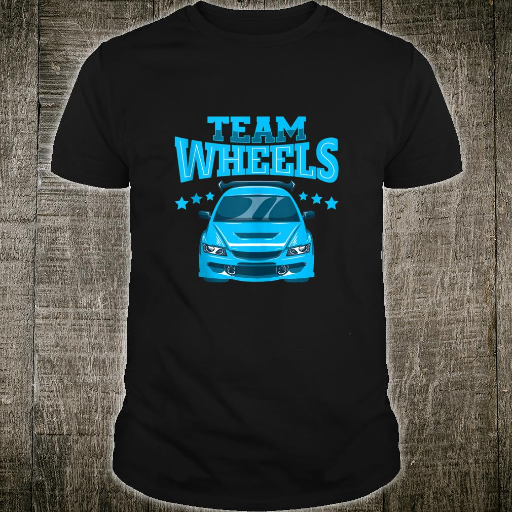 Team Wheels Car Boy Gender Reveal Family Party Shirt