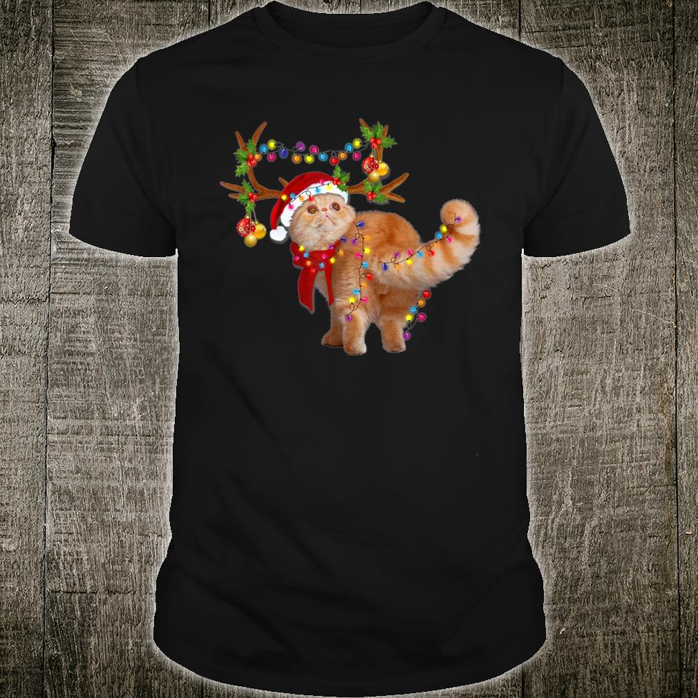 The Exotic Cat Gorgeous Reindeer Christmas Tree Light Xmas Shirt