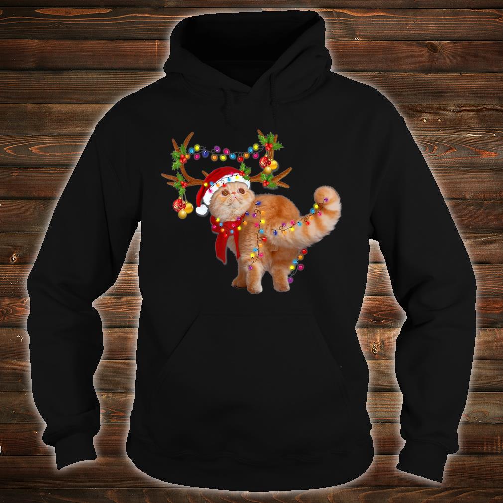 The Exotic Cat Gorgeous Reindeer Christmas Tree Light Xmas Shirt hoodie