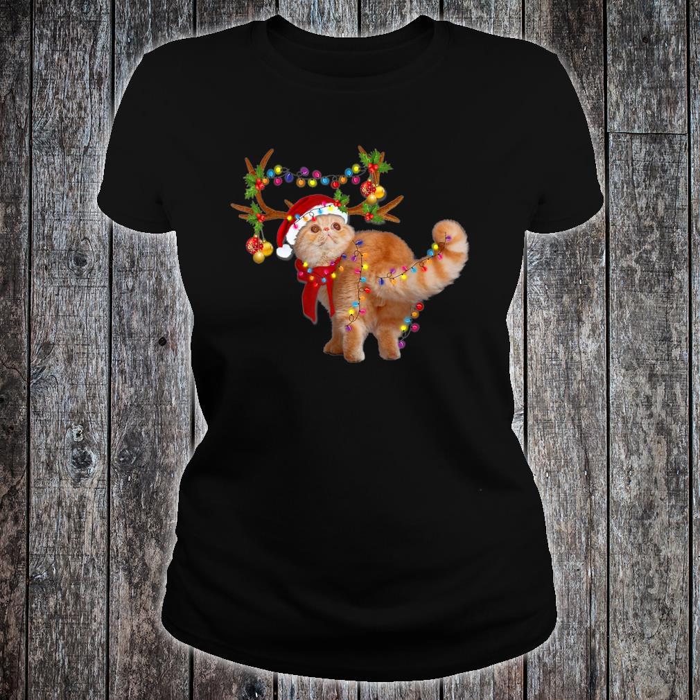 The Exotic Cat Gorgeous Reindeer Christmas Tree Light Xmas Shirt ladies tee